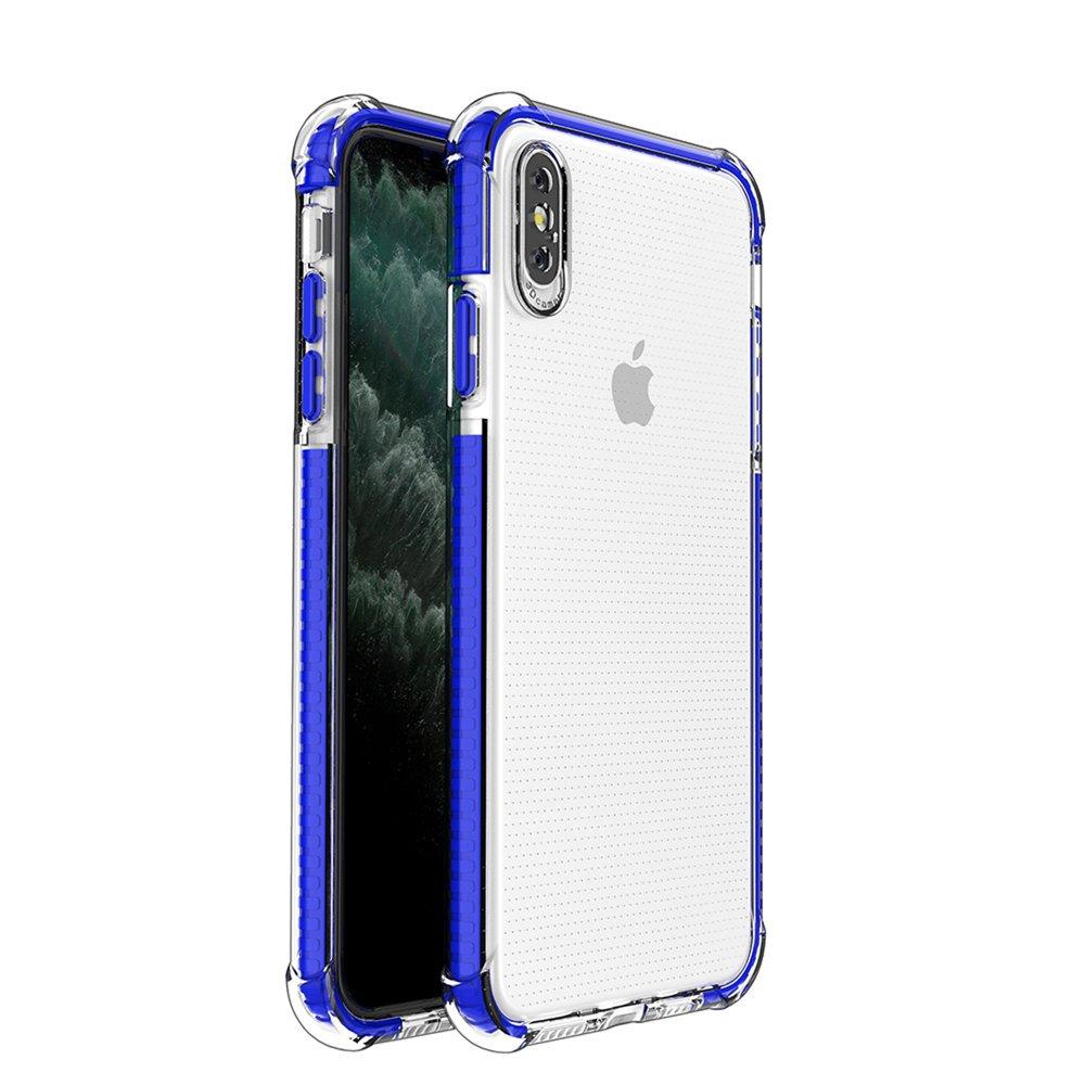 Spring Armor silikonové pouzdro s barevným lemem na iPhone XS MAX blue