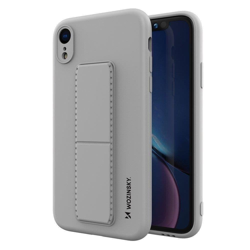 Wozinsky Flexibilné silikónové puzdro so stojanom na iPhone XR grey