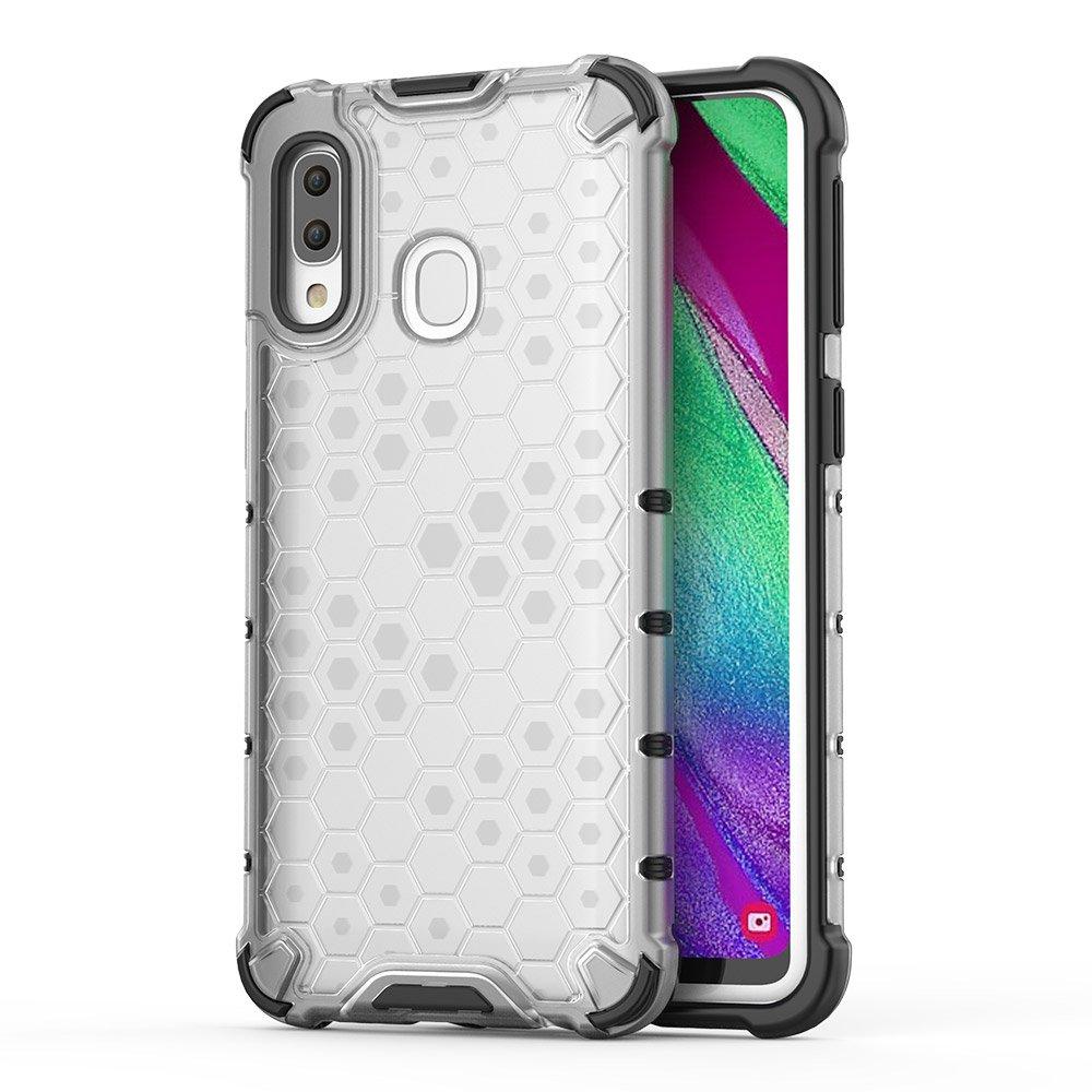 Honeycomb pancéřové pouzdro se silikonovým rámem pro Samsung Galaxy A40 transparent