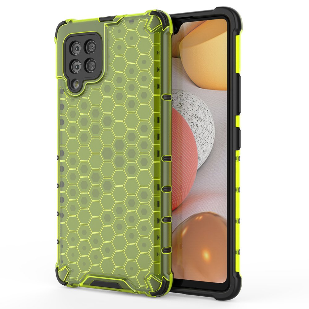 Honeycomb pancéřové pouzdro se silikonovým rámem pro Samsung Galaxy A42 5G green
