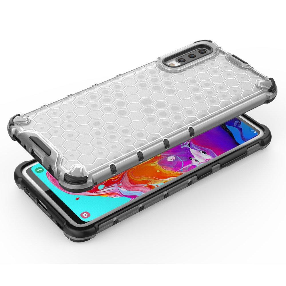 Honeycomb panceřované pouzdro se silikonovým rámem pro Samsung Galaxy A70 transparent