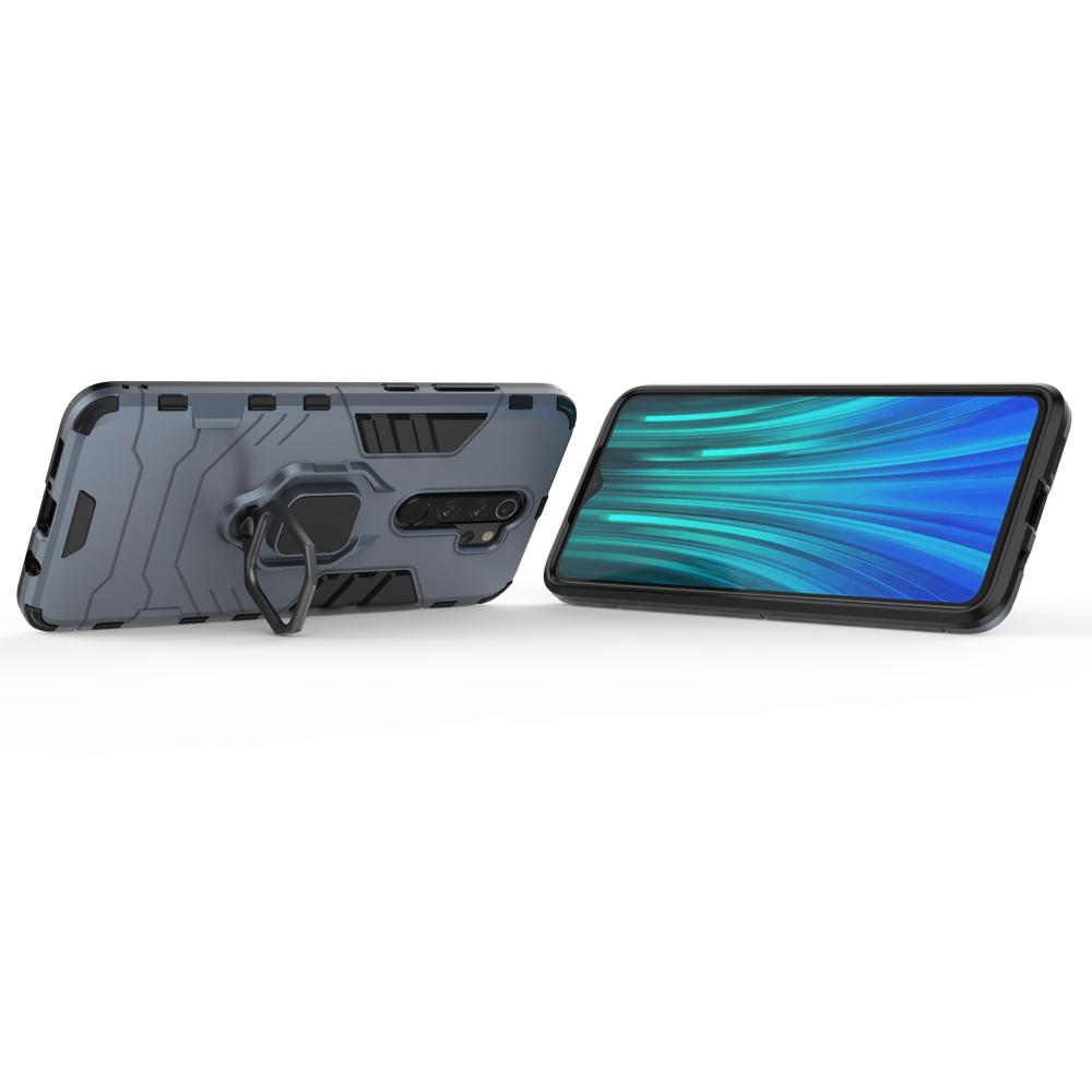 Hybrid pancéřové polykarbonátové pouzdro s kroužkem na Xiaomi Redmi Note 8 Pro blue
