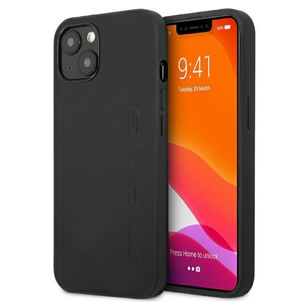 """AMG AMHCP13SDOLBK iPhone 13 mini 5,4 Puzdro """"čierny / čierny tvrdý kožený horúci razítko"""