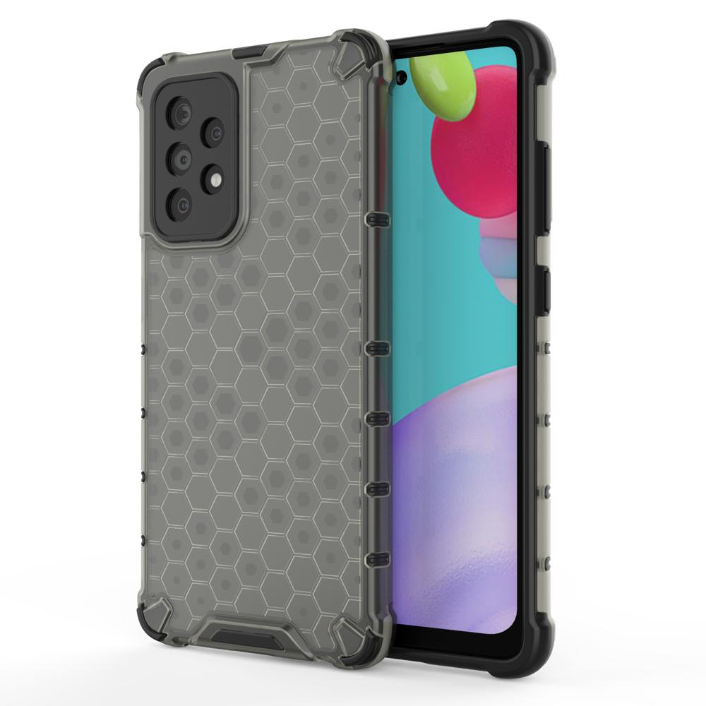 Honeycomb pancierové puzdro so silikónovým rámom pre Samsung Galaxy A52 black
