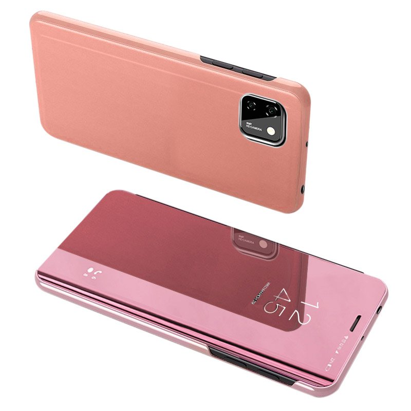 Knížkové pouzdro na Huawei Y5p pink s průhlednou přední stranou
