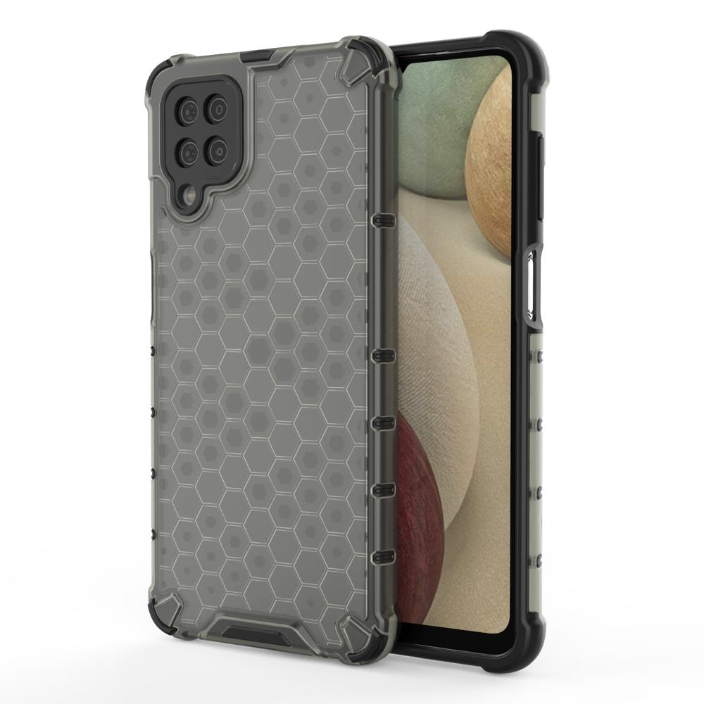 Honeycomb pancierové puzdro so silikónovým rámom pre Samsung Galaxy A12/M12 black