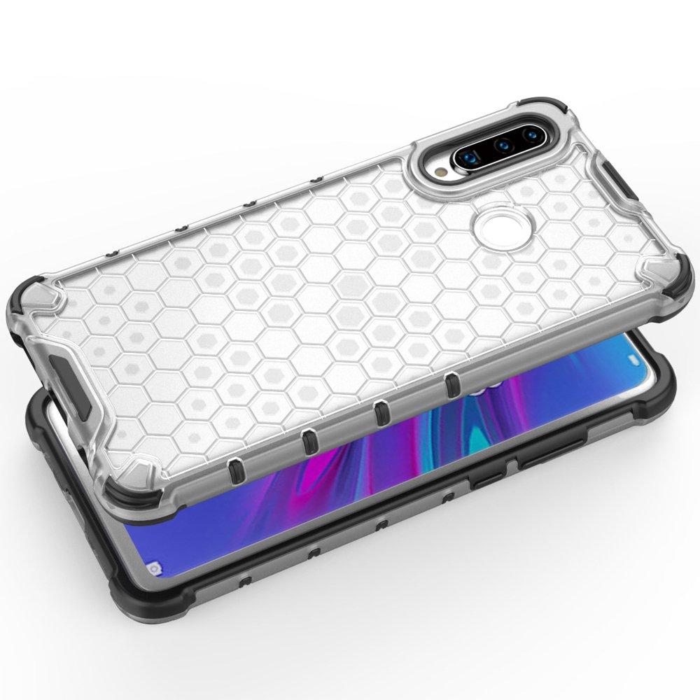 Honeycomb panceřové poudro se silikonovým rámem pro Huawei P30 Lite transparent