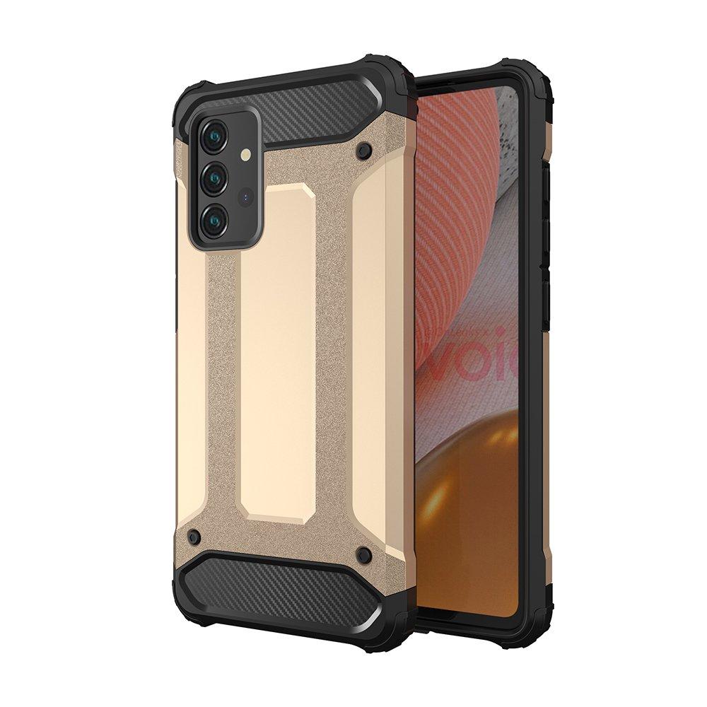 Hybrid pancierové polykarbonátové púzdro pre Samsung Galaxy A72 / A72 5G golden