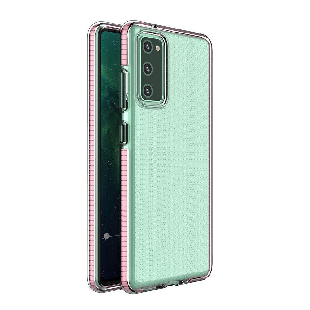 Spring silikónové puzdro s farebným lemom pre Samsung Galaxy A02s light pink