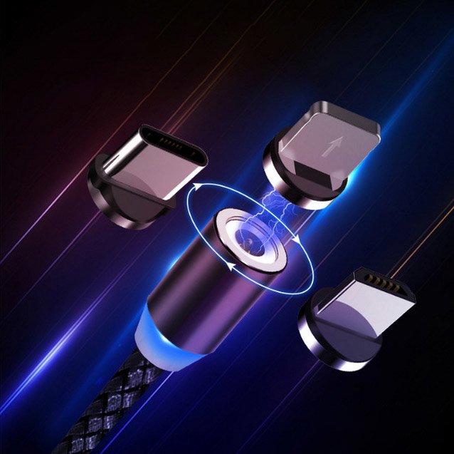 Wozinsky WMC-01 magnetický kábel 1m (micro / type-C lightning plug) black