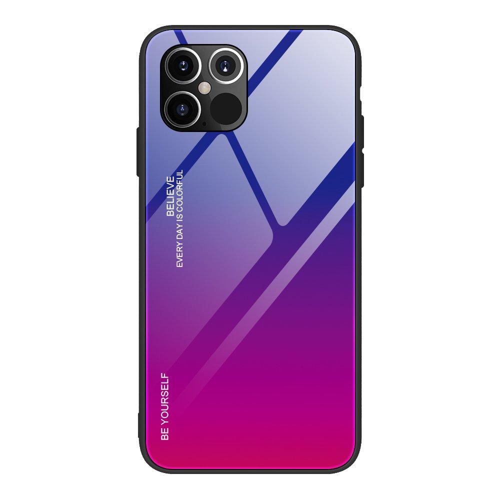 """Gradient Glass púzdro 9H na zadnú časť pre iPhone 12 Pro MAX 6,7"""" pink-purple"""