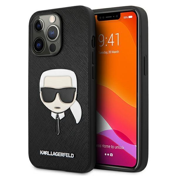 """Karl Lagerfeld KLHCP13XSAKHBK iPhone 13 Pro Max 6,7 """"čierny/čierny tvrdý obal Saffiano Ikonik Karl`s Head"""