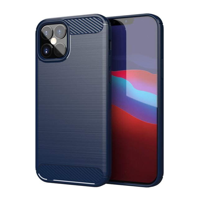 "Carbon silikónové puzdro pre iPhone 12 Pro Max 6.7"" blue"