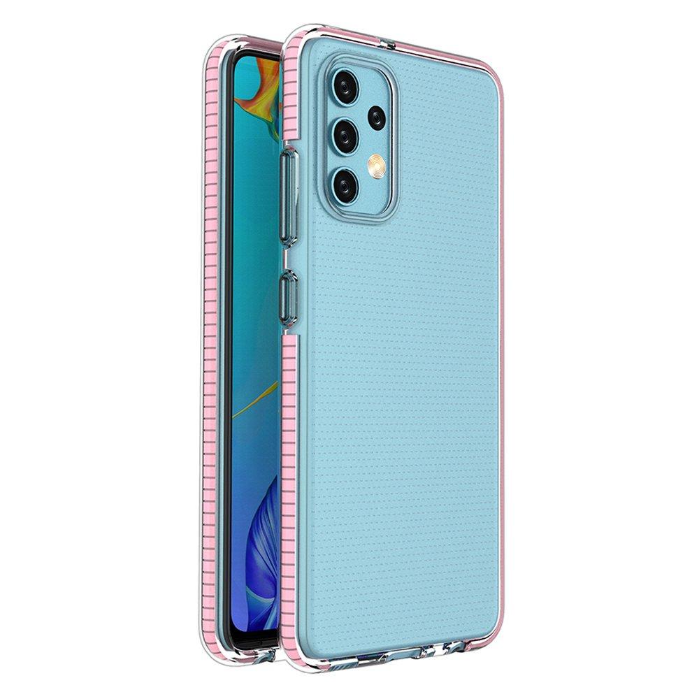 Spring silikonové pouzdro s barevným lemem na Samsung Galaxy A32 4G light pink