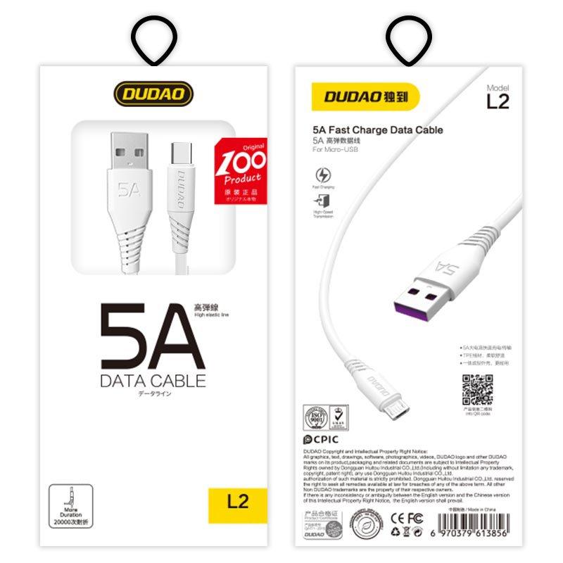 Dudao datový kabel USB/USB-C 5A 1m Bílý L2T