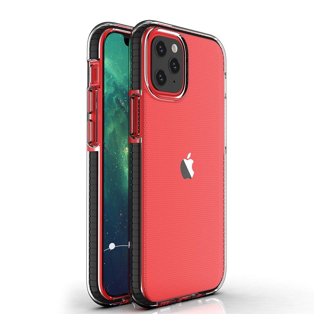 Spring silikonové pouzdro s barevným lemem na iPhone 12 / 12 Pro black