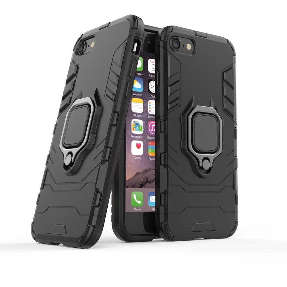 Hybrid pancéřové polykarbonátové pouzdro s kroužkem na iPhone SE 2020 / 8 / 7 black