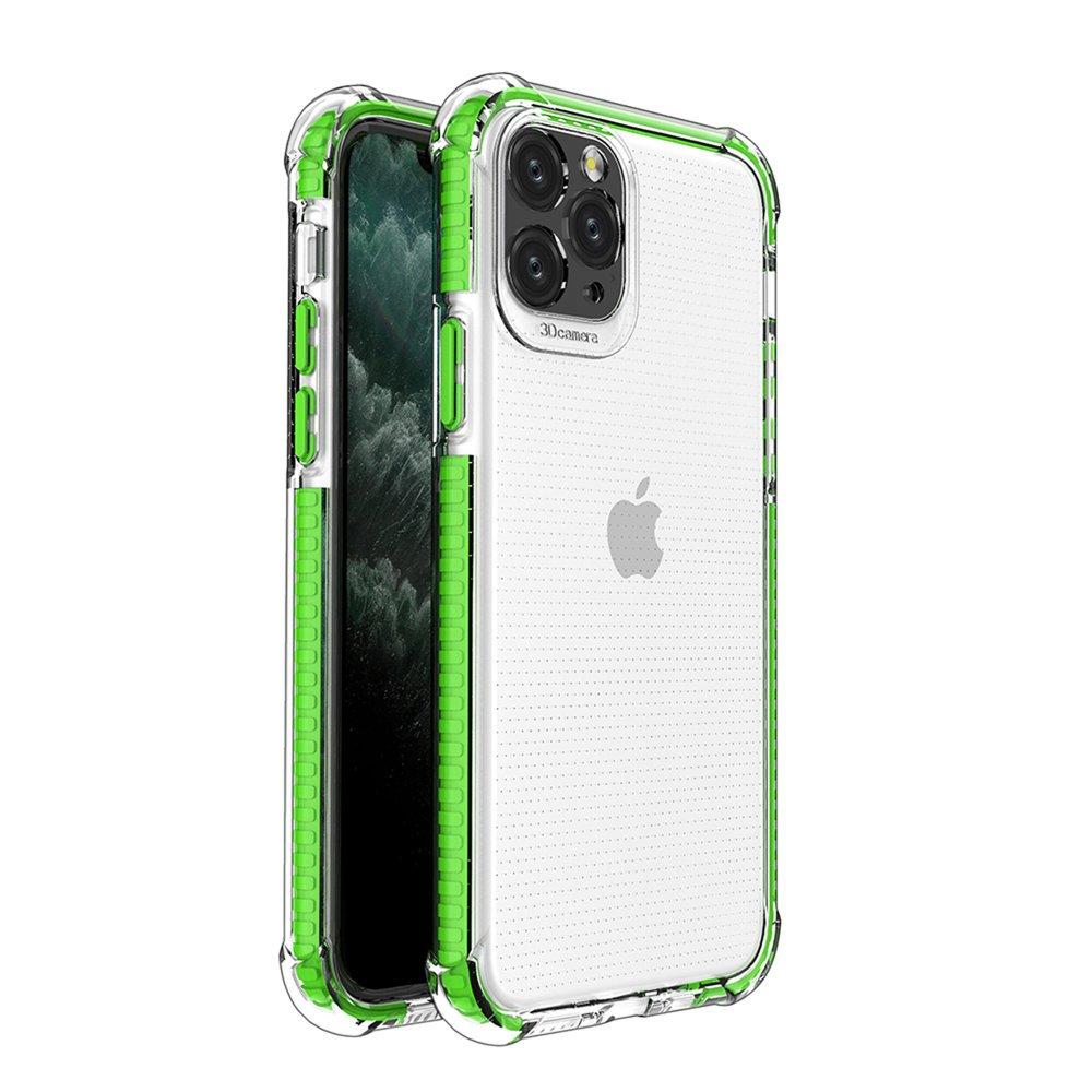 Spring Armor silikónové puzdro s farebným lemom pre iPhone 11 Pro green