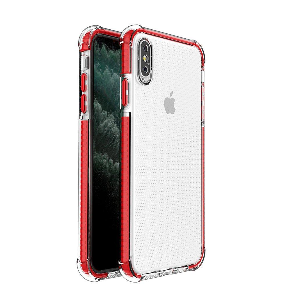 Spring Armor silikonové pouzdro s barevným lemem na iPhone XS MAX red