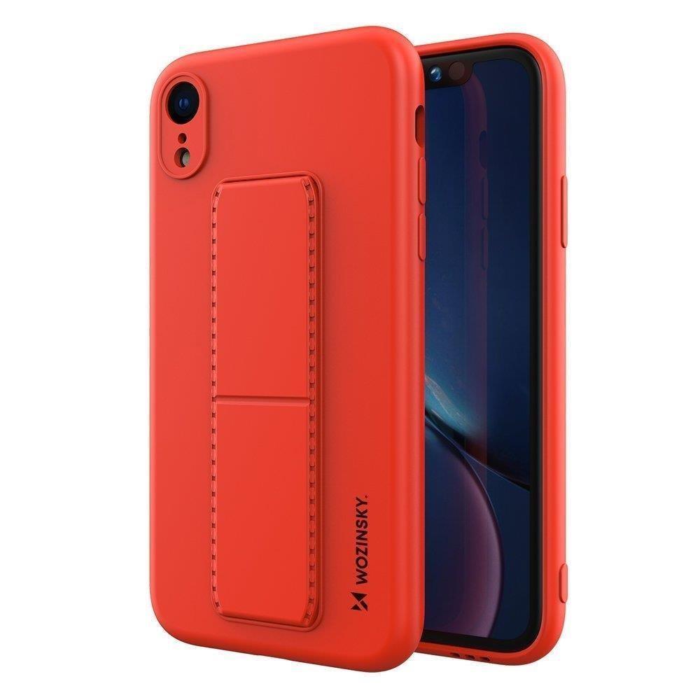 Wozinsky Flexibilné silikónové puzdro so stojanom na iPhone XR red