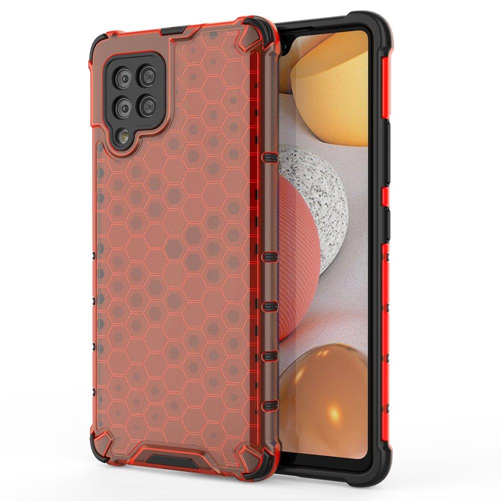 Honeycomb pancéřové pouzdro se silikonovým rámem pro Samsung Galaxy A42 5G red