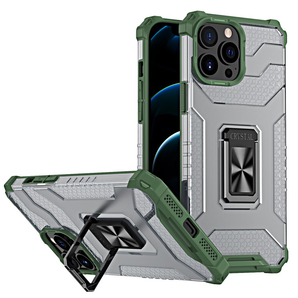 Pevný robustný kryt puzdra na krištáľový krúžok pre iPhone 13 Pro zelený