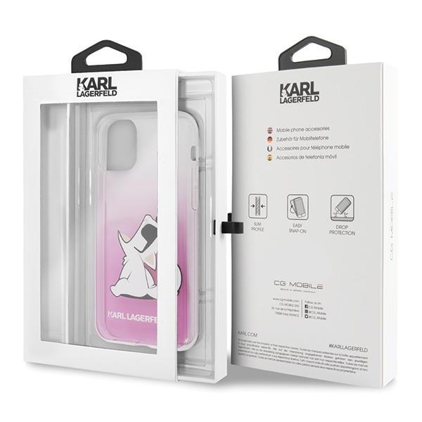 Karl Lagerfeld KLHCN58CFNRCPI hard silikonové pouzdro iPhone 11 Pro pink Choupette fun
