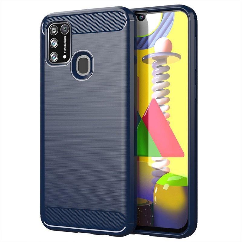 Carbon silikónové puzdro pre Samsung Galaxy M21 blue