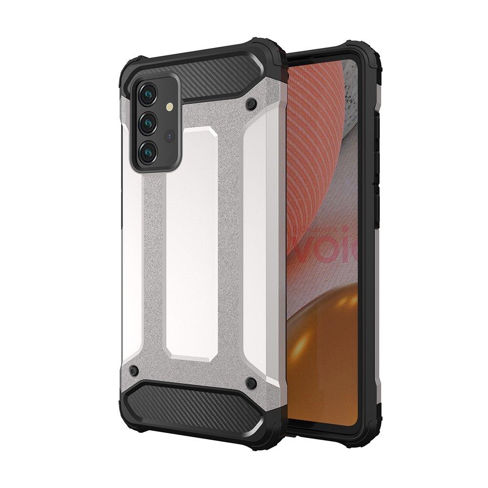 Hybrid pancierové polykarbonátové púzdro pre Samsung Galaxy A72 / A72 5G silver