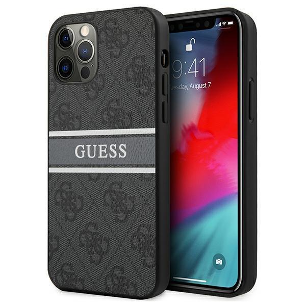 Guess GUHCP12M4GDGR iPhone 12/12 Pro 6,1 & quot; sivý / sivý tvrdý obal 4G Stripe