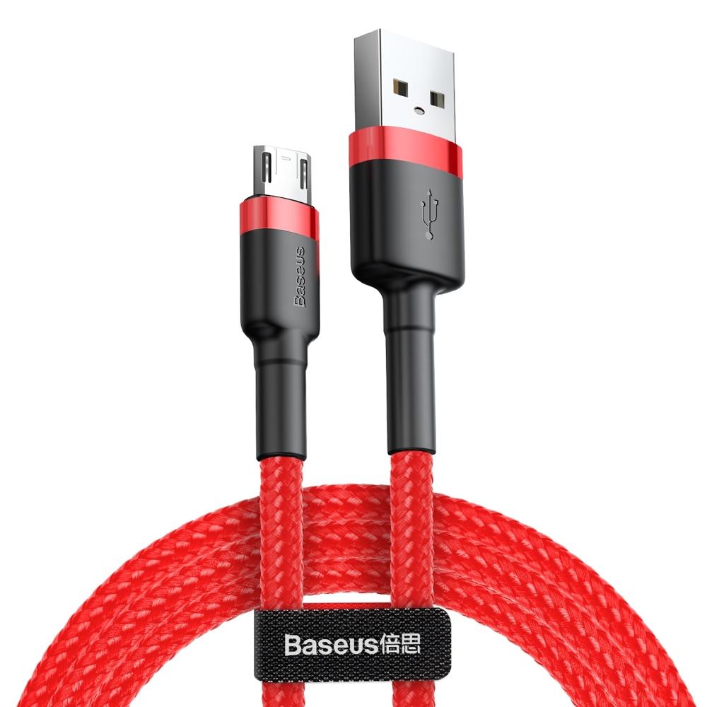 Baseus Cafule extra odolný nylonem opletený kabel USB / Micro USB QC3.0 1,5A 2m red