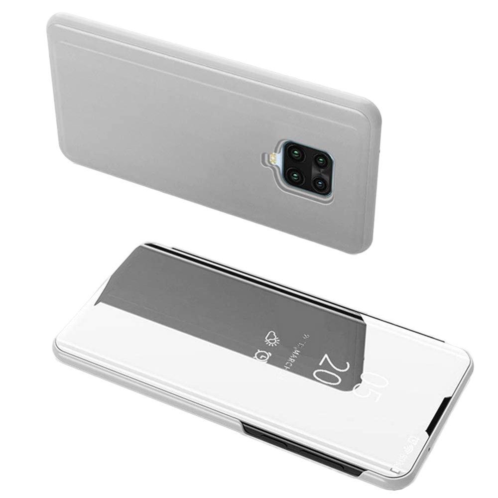 Knižkove púzdro pre Xiaomi Redmi Note 9 / Redmi 10X 4G Silver s priehľadnou prednou stranou