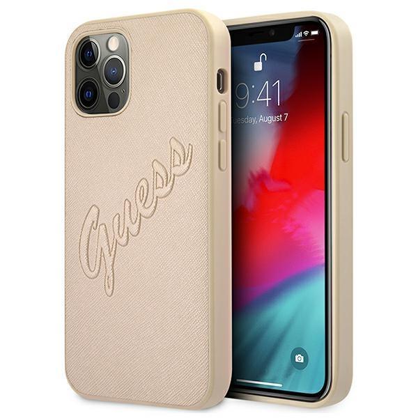 Guess GUHCP12MRSAVSLG iPhone 12/12 Pro 6,1 & quot; zlatý / zlatý pevný obal Saffiano Vintage Script