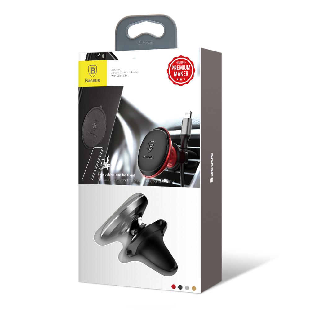 Baseus Magnetický držák do větrací mřížky s držákem kabelu black (SUGX-A01)
